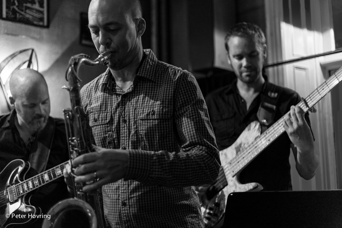 The rather new jazz group Todash - Peter Nylander (Guitar), Klas Toresson (Sax), Bengan Jonasson (Bass) playing at the Glenn Miller Cafe, Stockholm July 31st, 2013. Small place - but fantastic atmosphere. © 2013 Peter Høvring